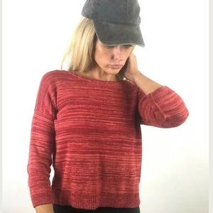 Lucky Brand Red Striped Light Knit Sweater